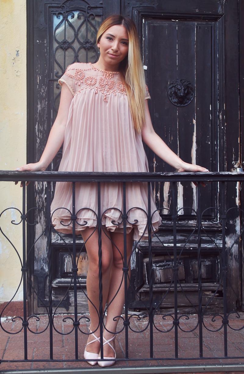 Bead Mesh Pleated Loose Dress fashion blogger