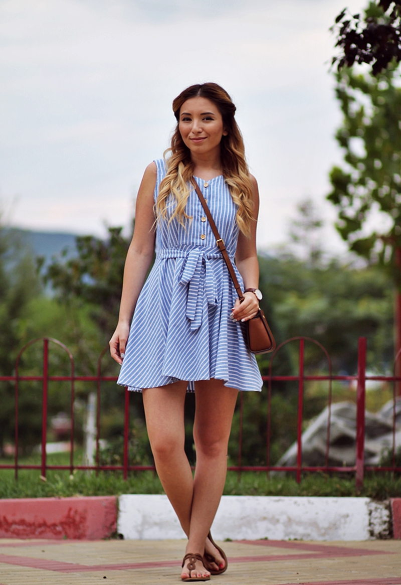V Neck Striped With Belt Flare Blue Dress - Fashion Blogger