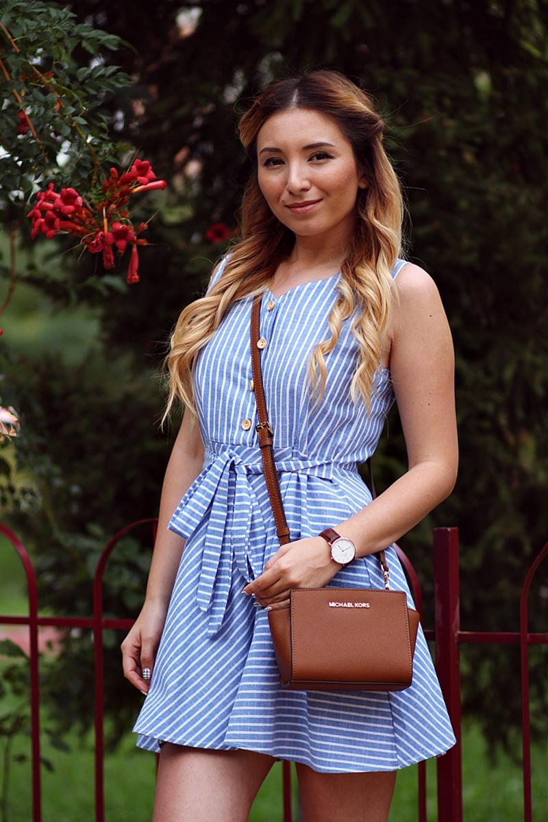 Rochie cu dungi scolaresti - alb bleu