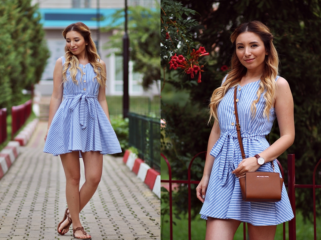 Street style -  summer blue dress with brown Michael Kors bag