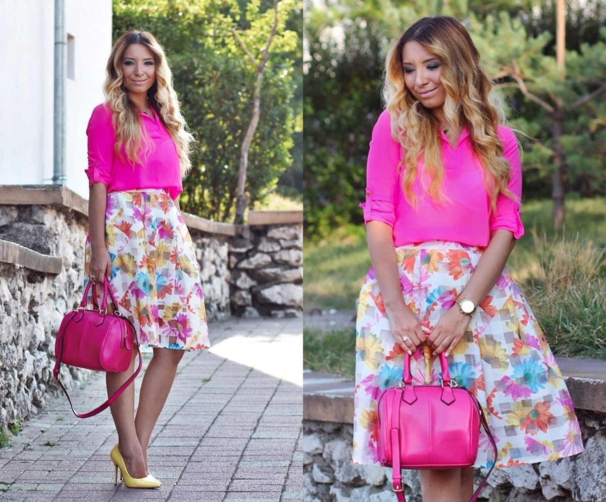lookbook - floral midi skirt, neon pink shirt, pink bag, yellow high heels, andreea ristea