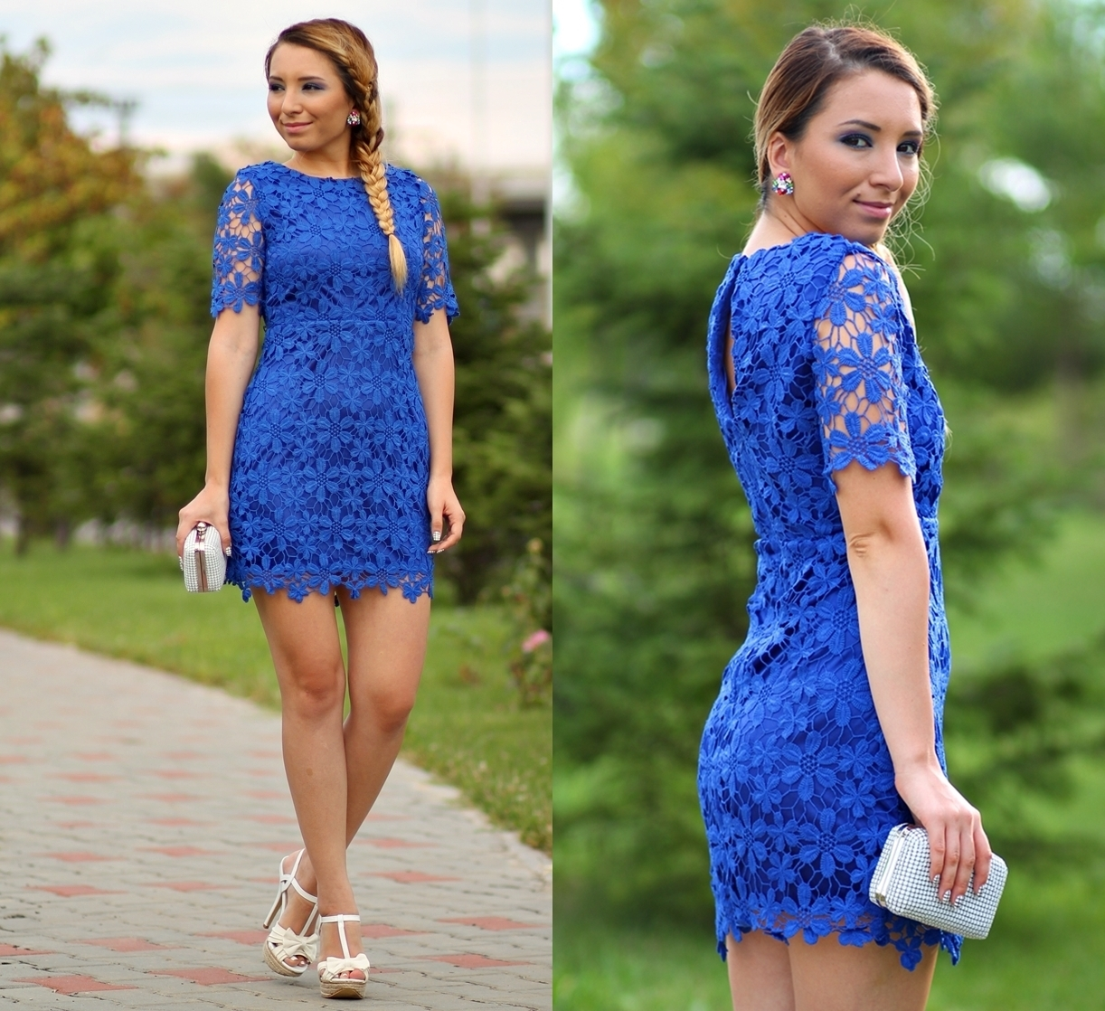 Street style - blue lace dress - short dress - flowers lace, white sandals and white clutch - elegant look