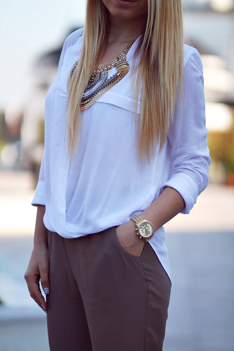 asymmetrical white shirt - street style