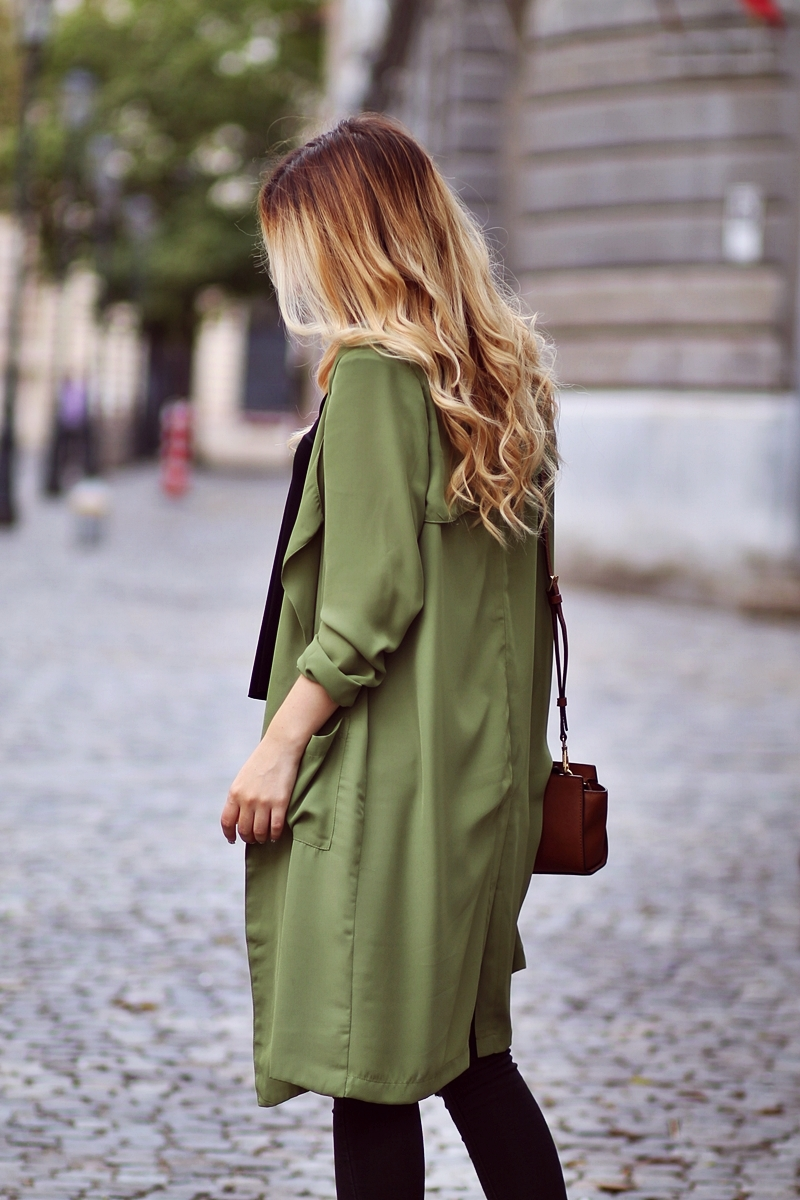 Green Long Sleeve Epaulet Pockets Coat - fashion blogger