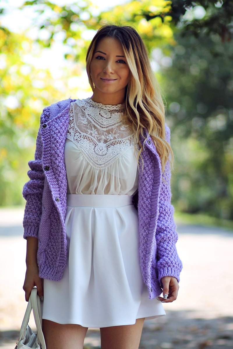 Purple Round Neck Cable Knit Cardigan