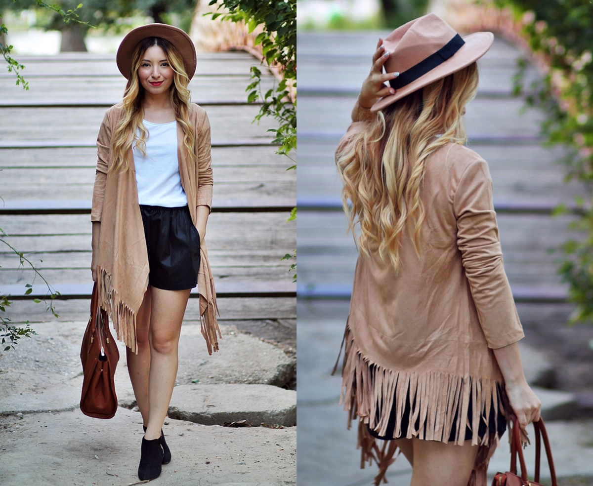 lookbook camel jacket fringe - autumn look