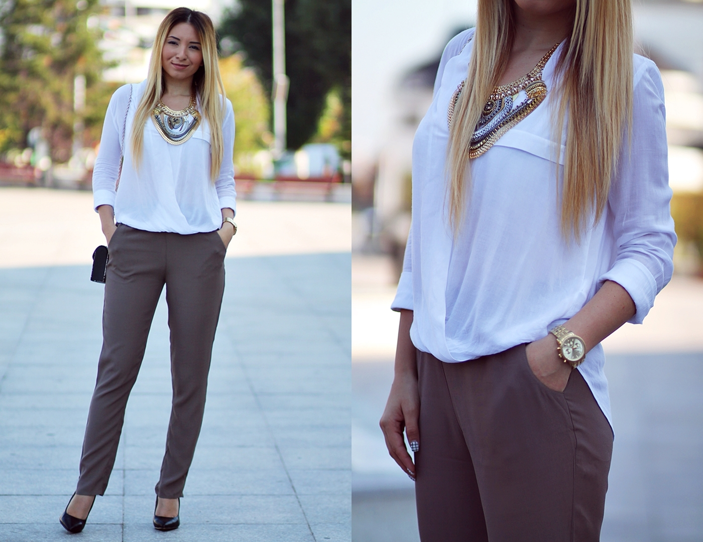 lookbook - military green pants and white asymmetrical shirt