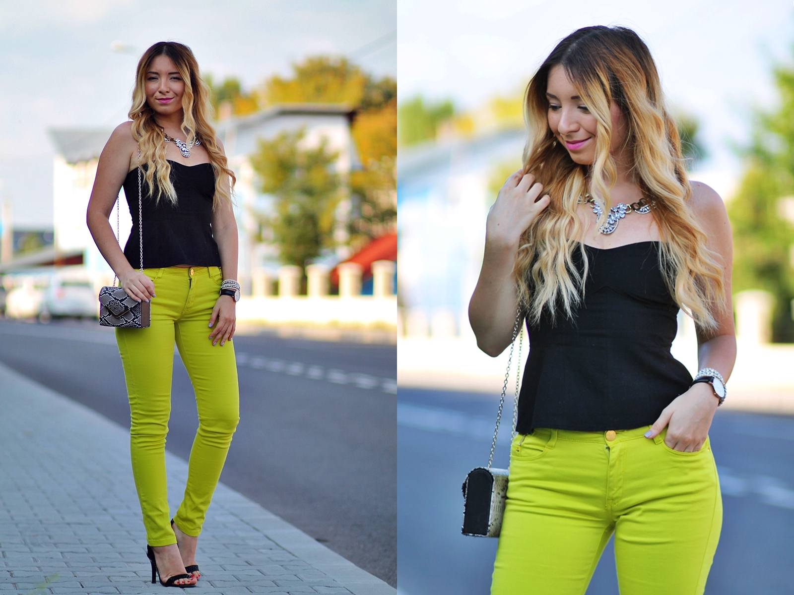 lookbook - light green pants and black top