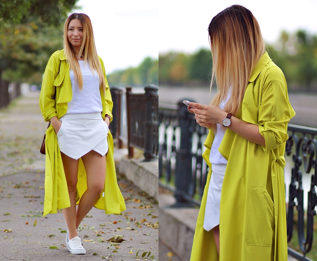 lookbook - green lemon trench coat
