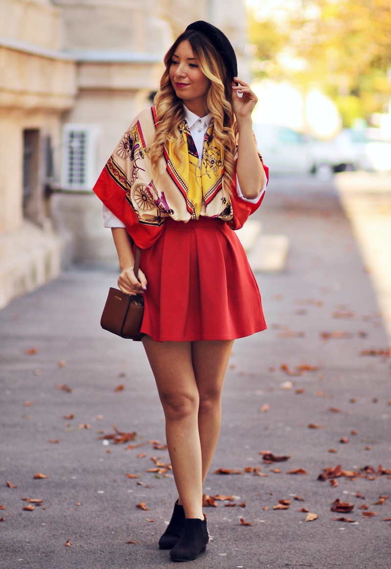 Street style: parisienne look, red pleated skirt, carriage scarf, orange scarf, Michael Kors mini Selma Bag, Romwe