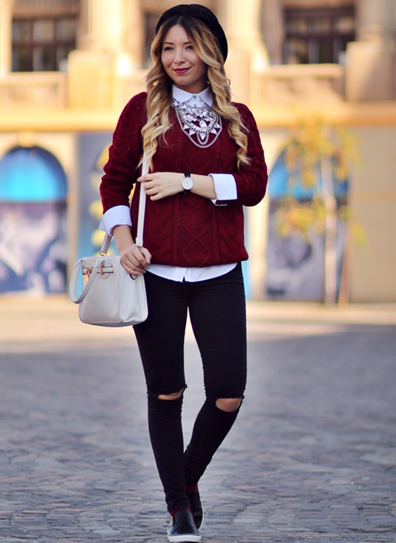Street style - red wine sweater, ripped black jeans