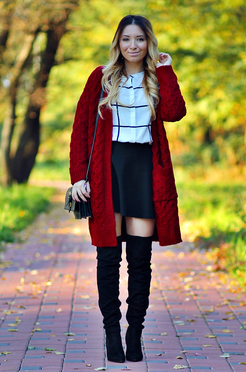 Street style: red long cardigan, plaids, checkered, grids shirt, black skirt, over the knee boots