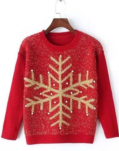 pulover de craciun rosu cu auriu- fulg de nea