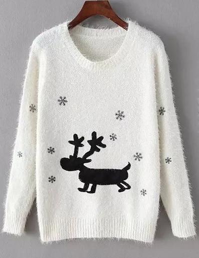 pulover craciun alb cu reni