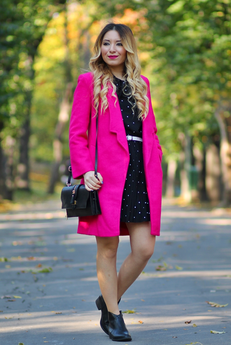 Street style pink coat, black polka dress, black ankle boots, black bag - Autumn look