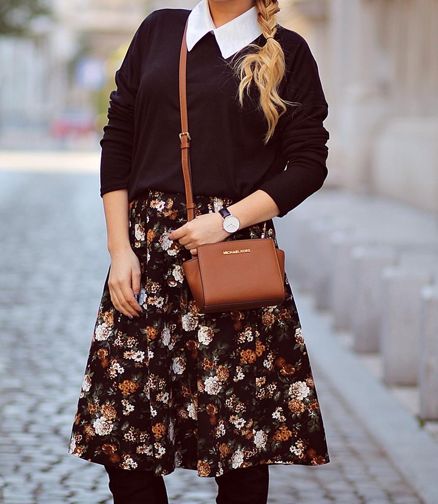 Street style -  floral vintage midi skirt, Romwe