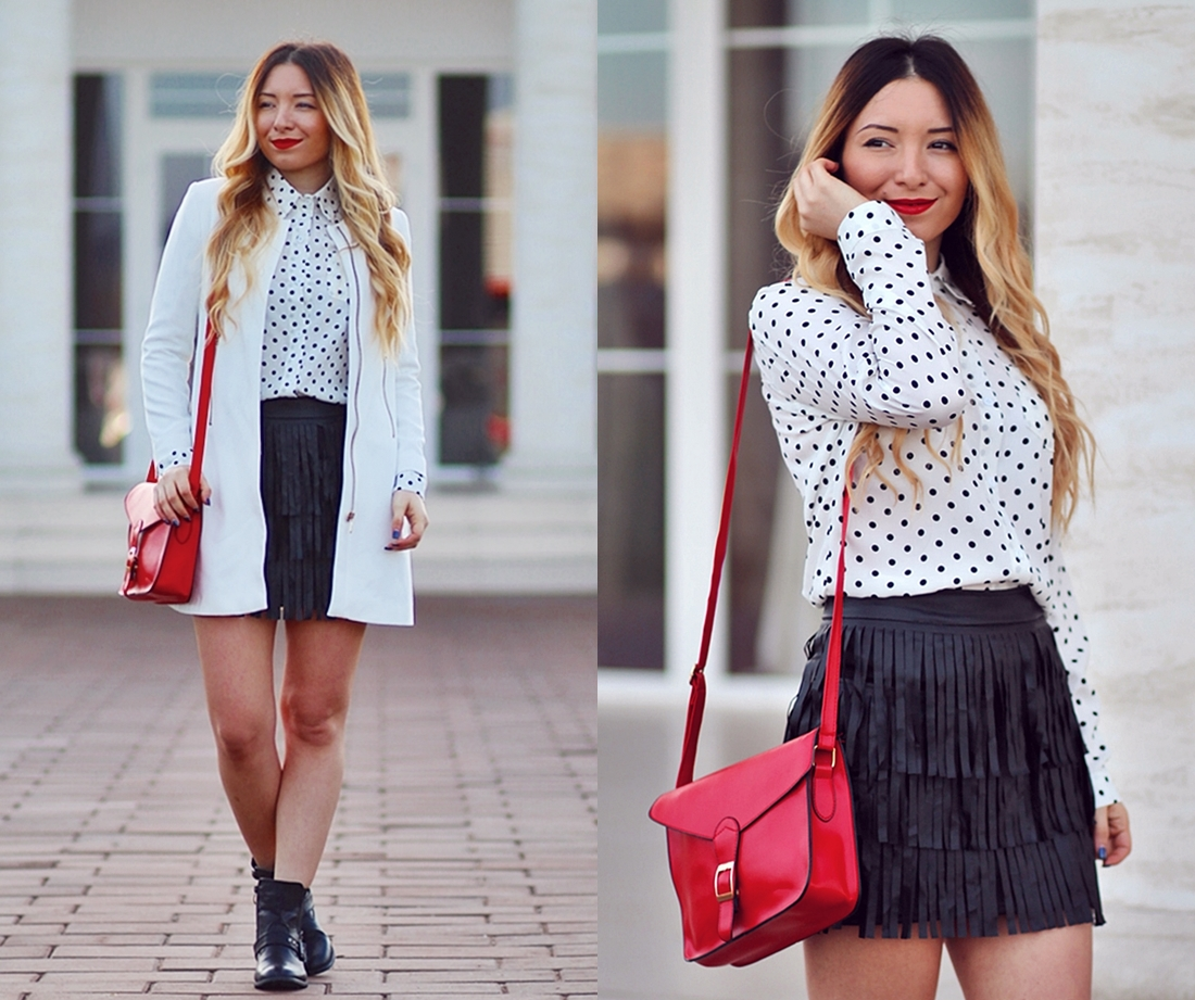 lookbook - fringe skirt, polka dots white shirt, red bag, white coat