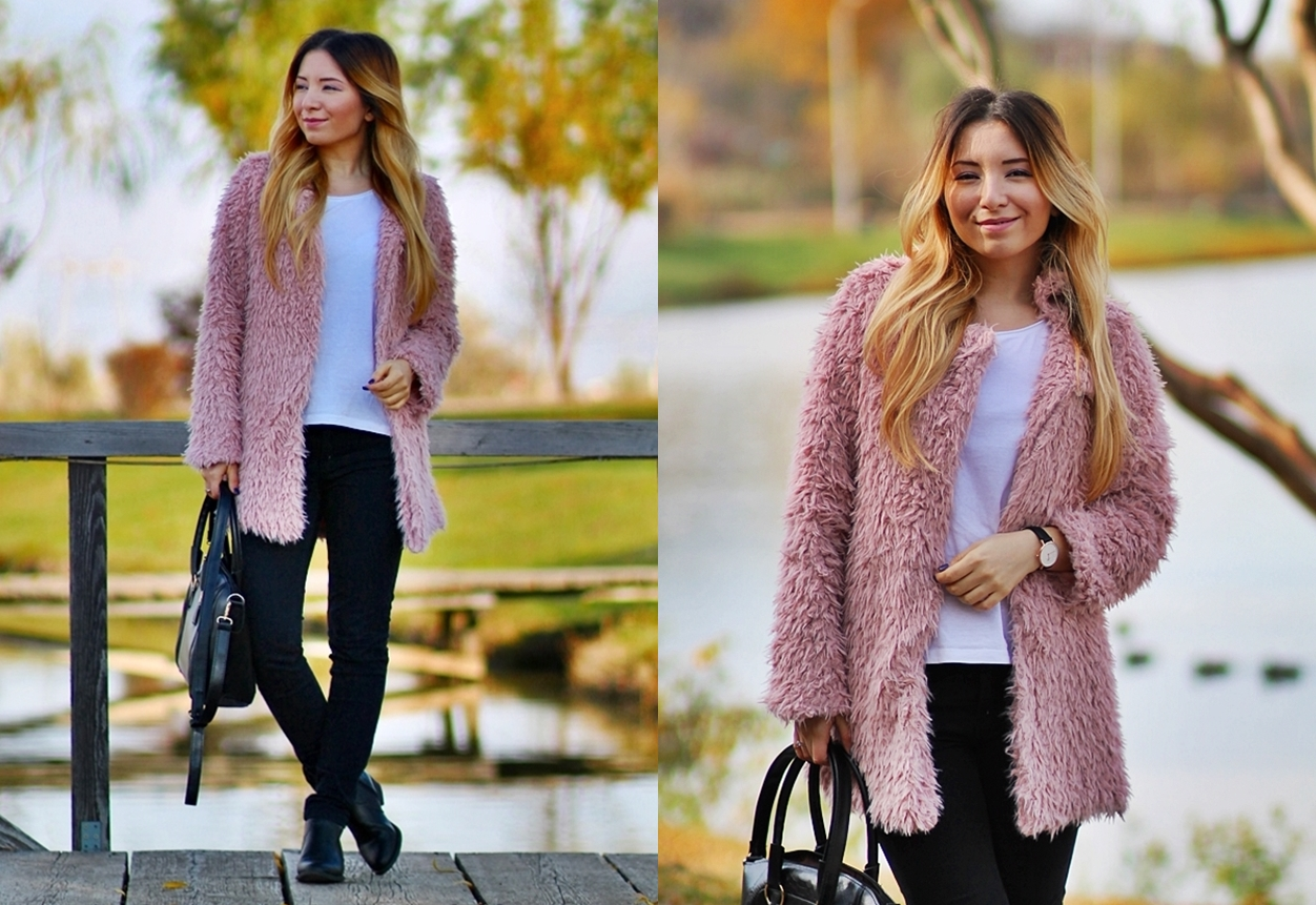 lookbook - powdery pink fluffy coat