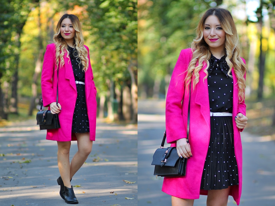 lookbook - pink coat and black polka dress - autumn dress