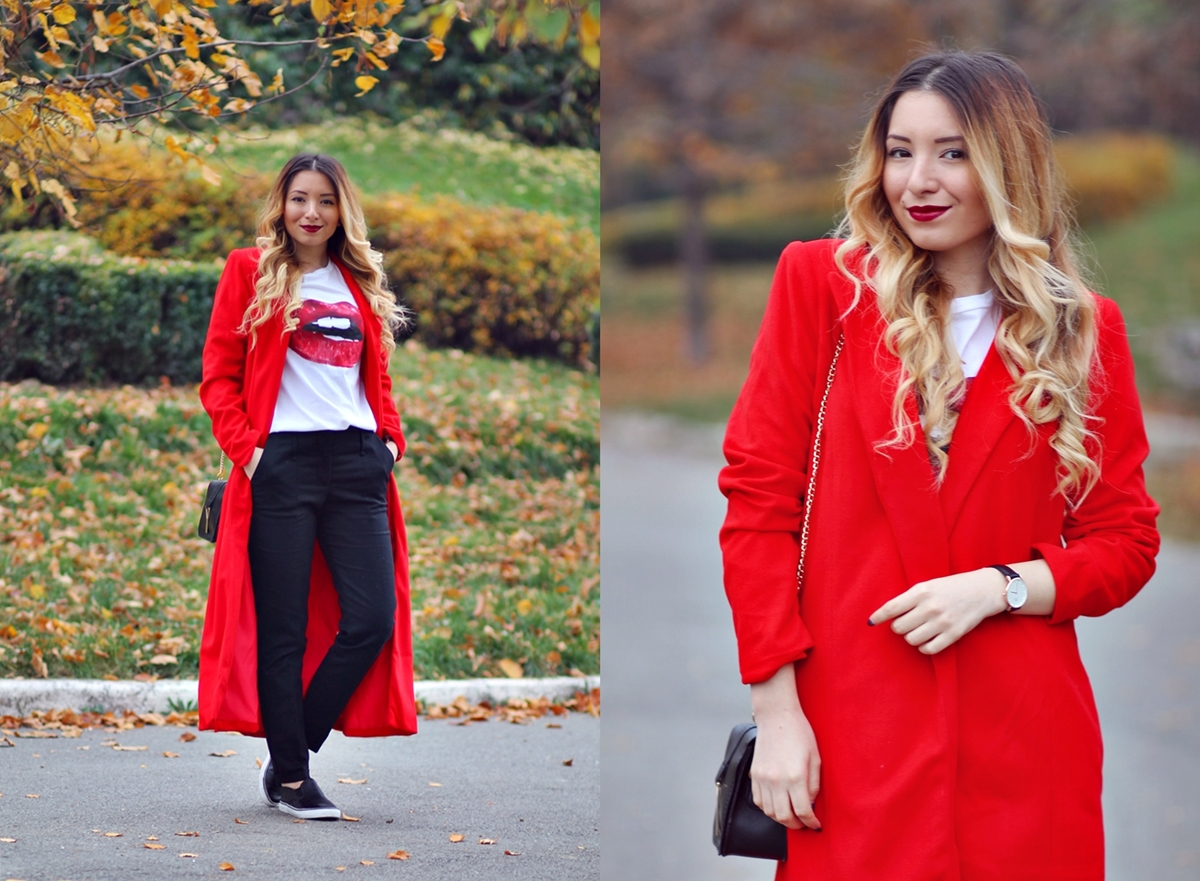 lookbook - red long coat