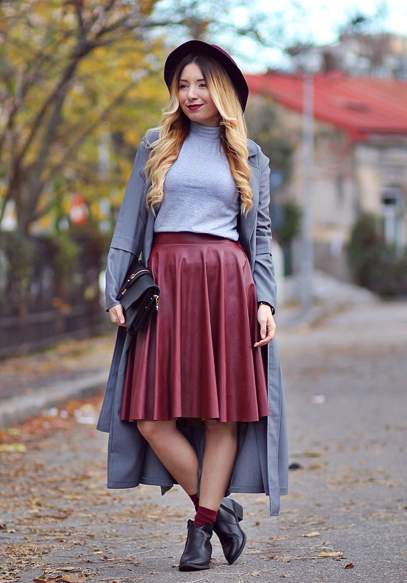 Street style: burgundy fake leather skirt, midi skirt, grey turtleneck, grey long coat, grey trench, black boots with sokcs - romwe skirt | Andreea Ristea Blog