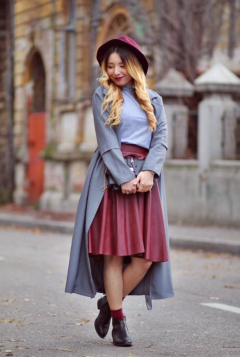 Fusta in clos burgundy - blogger de moda - Cum purtam? Tinuta de toamna