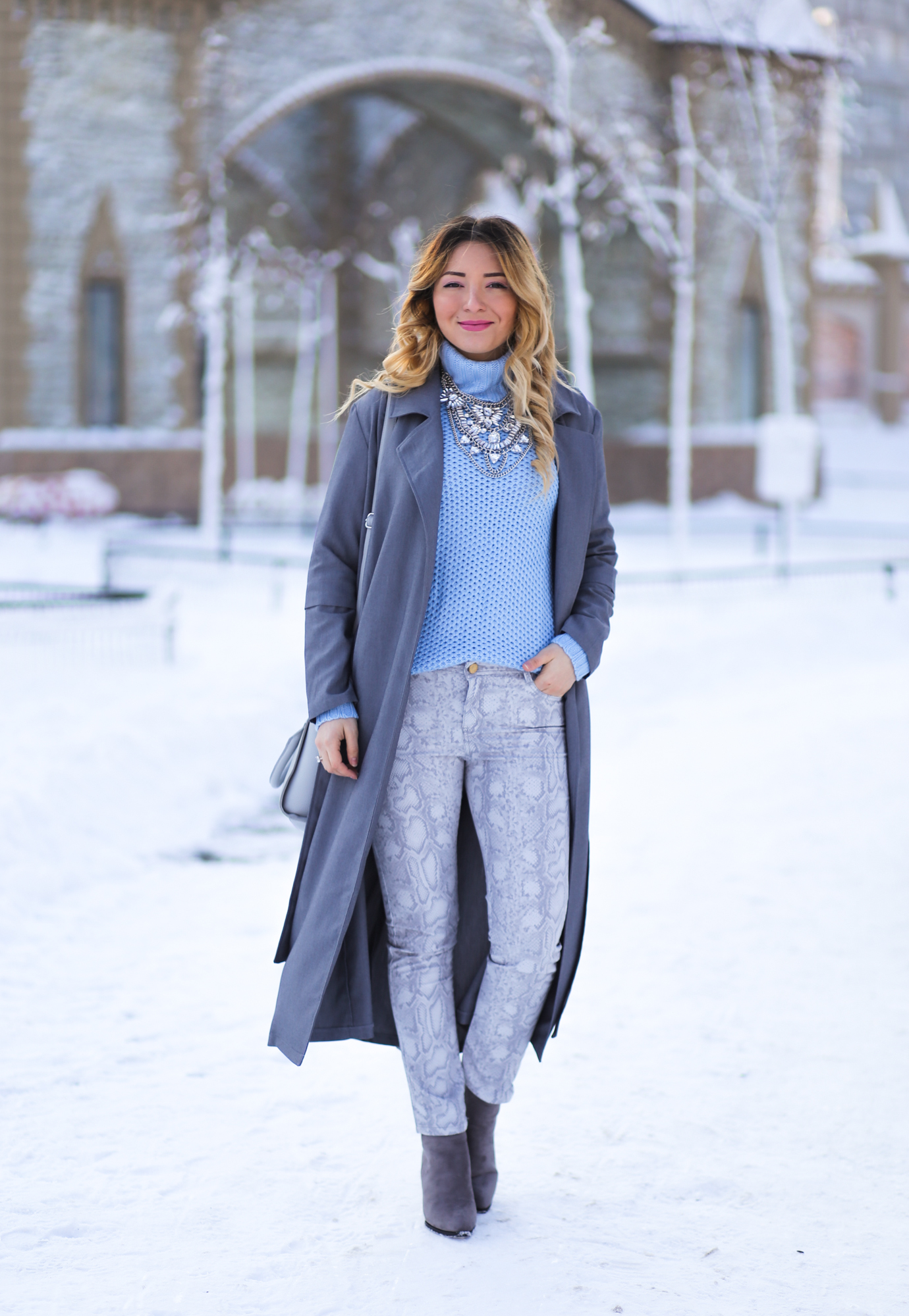 Street style: blue ciel, serenity sweater, snake print pants, grey choies boots, shein grey coat, happiness boutique necklace