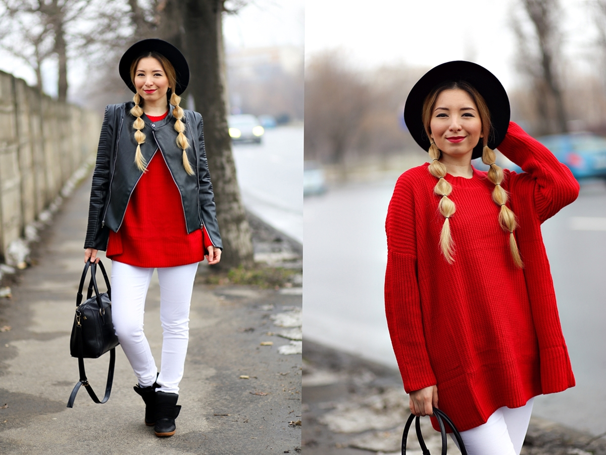 bubble hairstyle, red sweater, winter look, white pants, black jacket