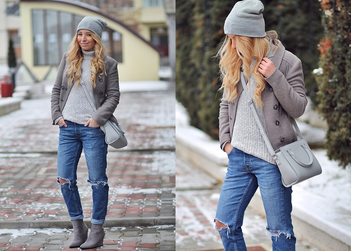 all grey, winter look