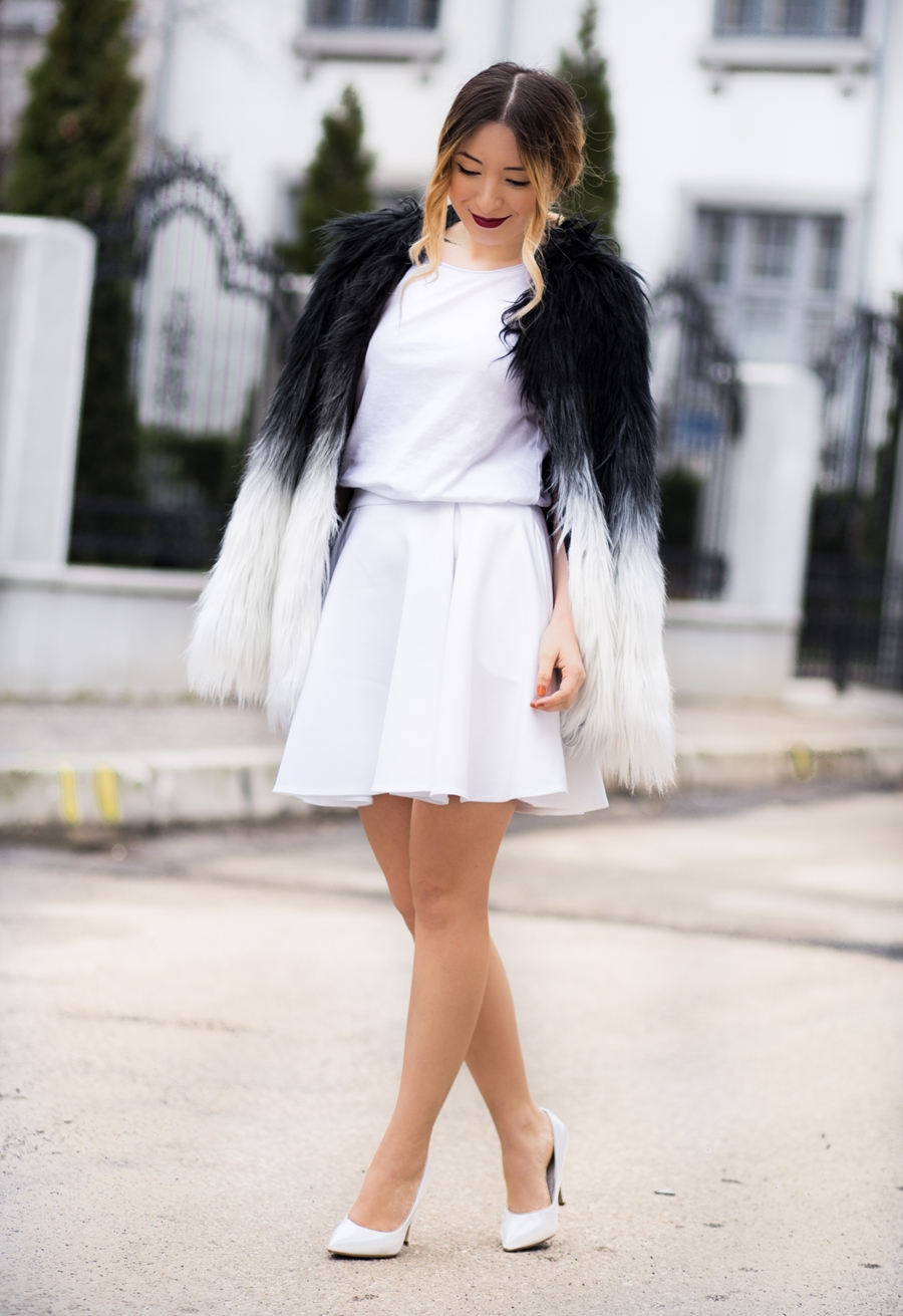 Street style: faux fur ombre jacket, white circle skirt, white basic top, white heels, white shoes, all white outfit, fashion blogger, andreea ristea