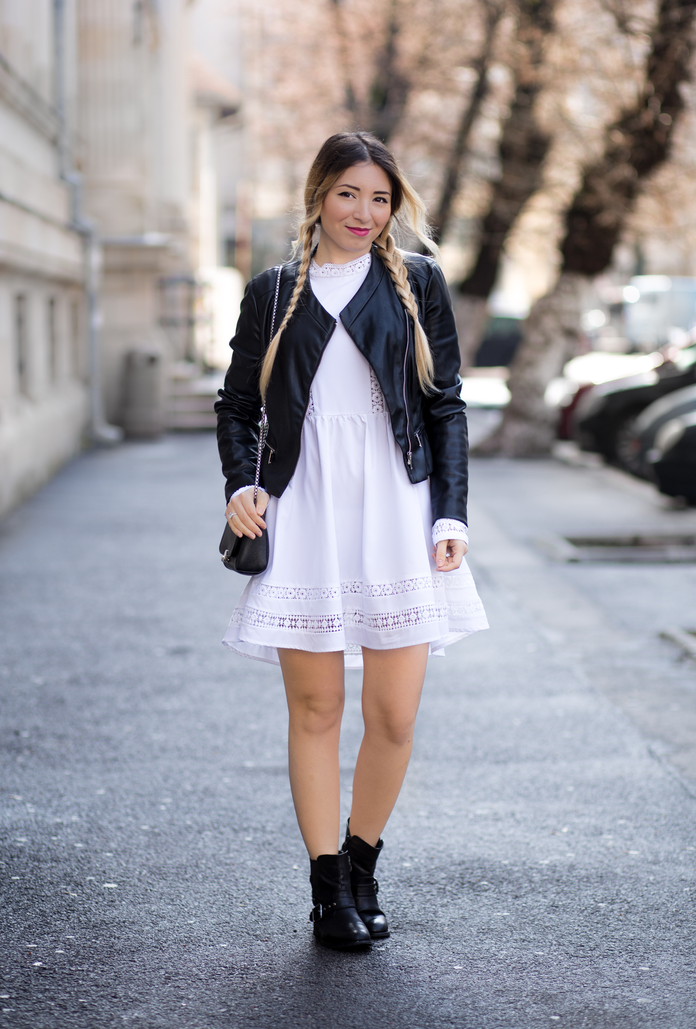 White Long Sleeve With Lace Dress Romwe - street style - fashion blogger Andreea Ristea