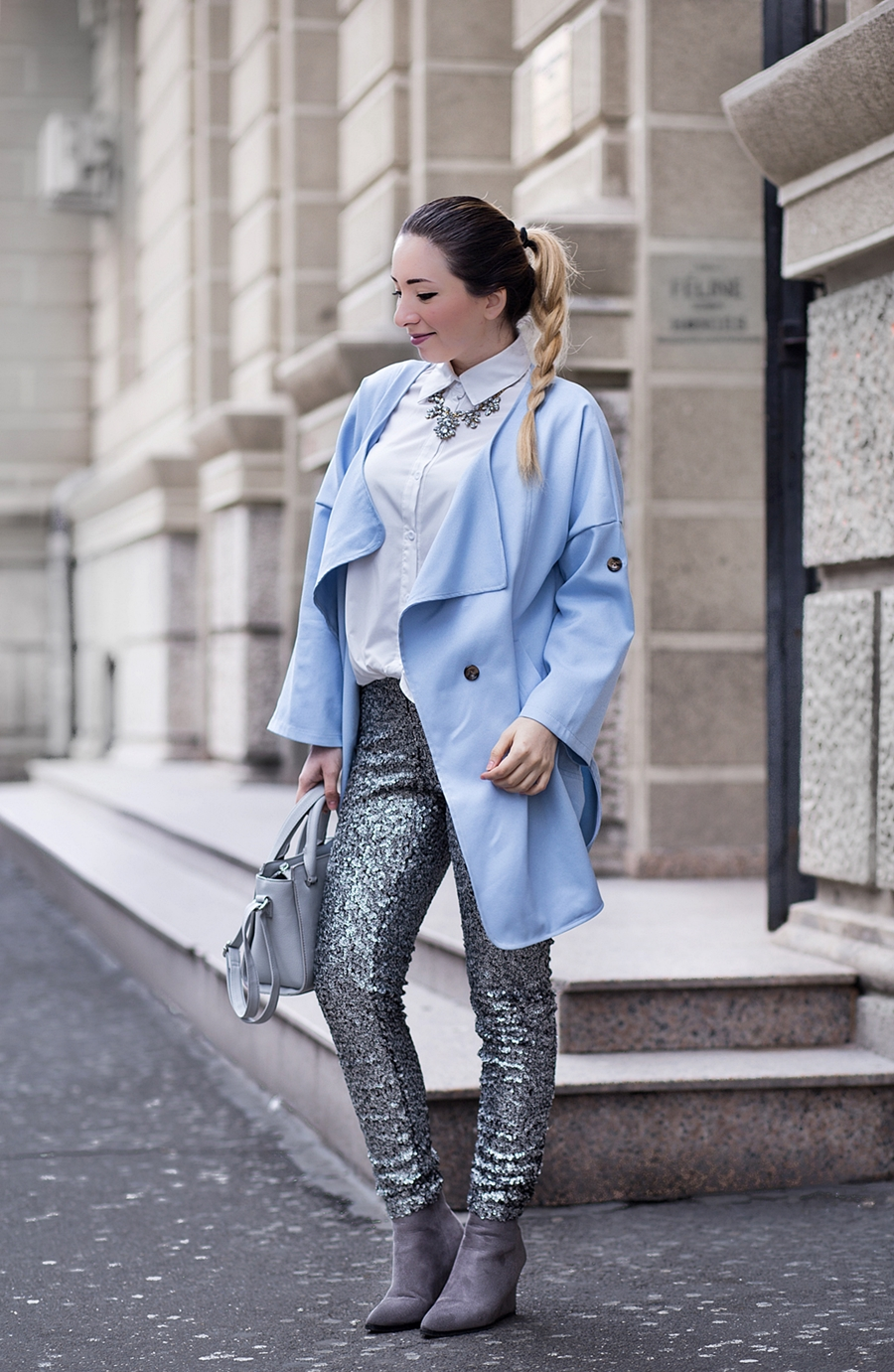 Street style: color of the year 2016 serenity blue, silver grey sequins pants, grey choies boots, hm pants, shein oversized coat - fashion blogger Andreea Ristea