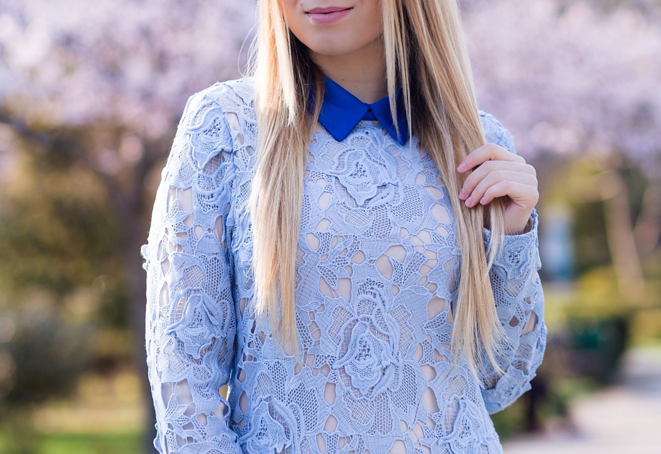Blue Long Sleeve Lace Dress SheIn