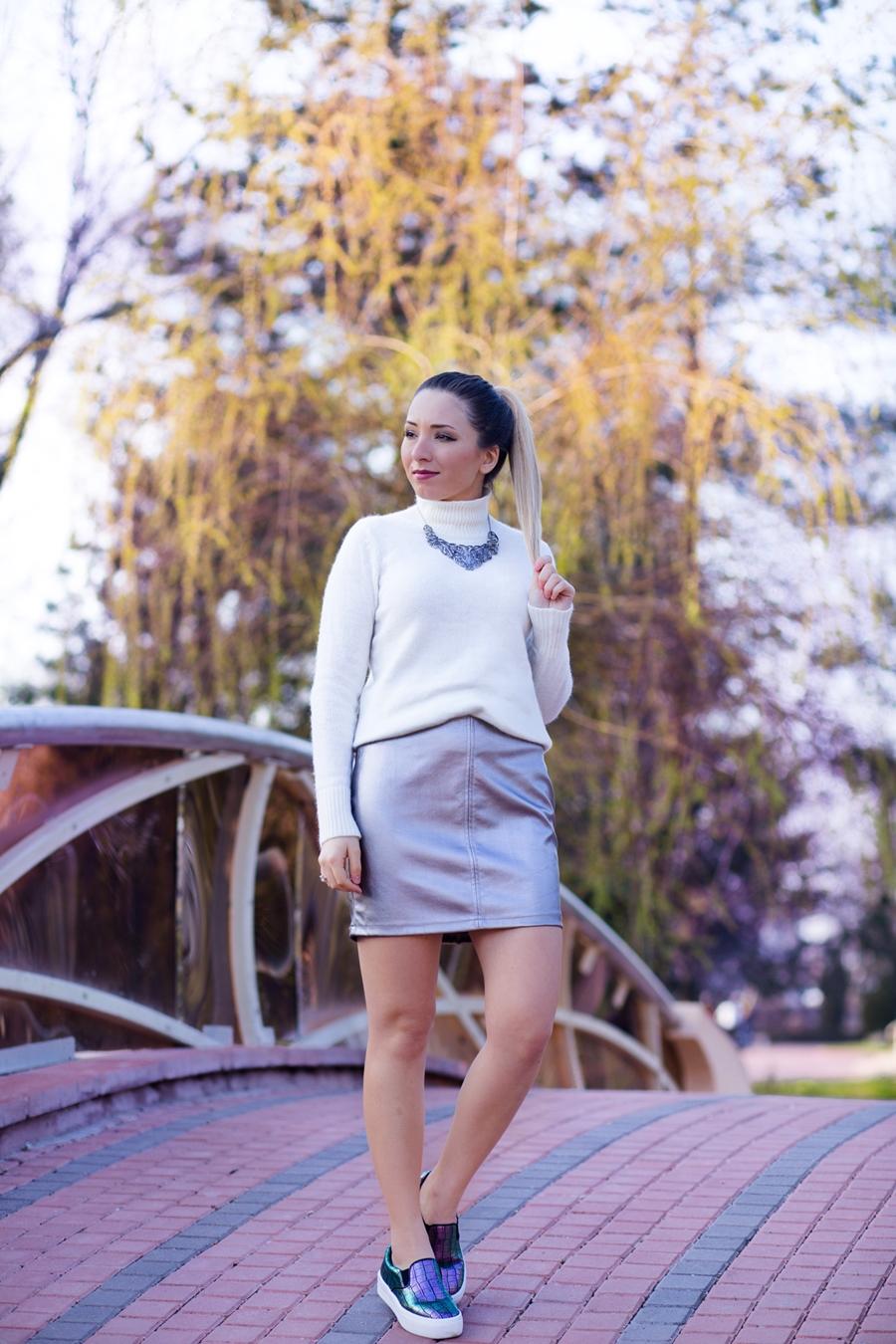 Street style - white turtleneck white sweater, metallic silver skirt, chameleon sport shoes - spring outfit