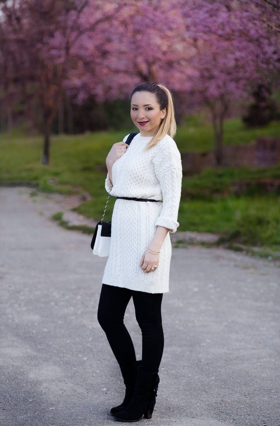 Street style - knitwear white dress, black and white outfit, spring look, fashion blogger Andreea Ristea
