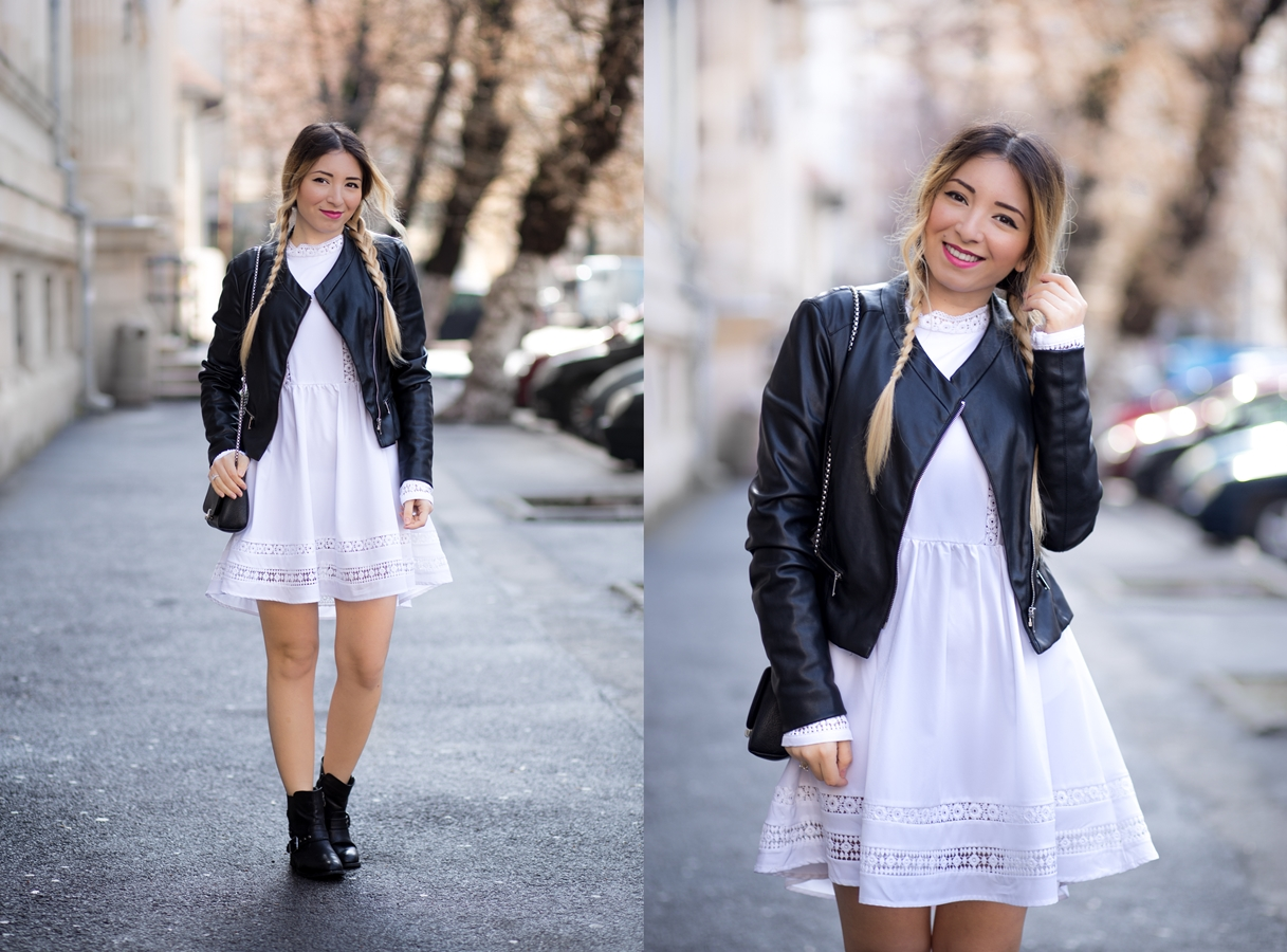 lookbook - white dress black moto jacket black boots spring look outfit fashion street style andreea ristea