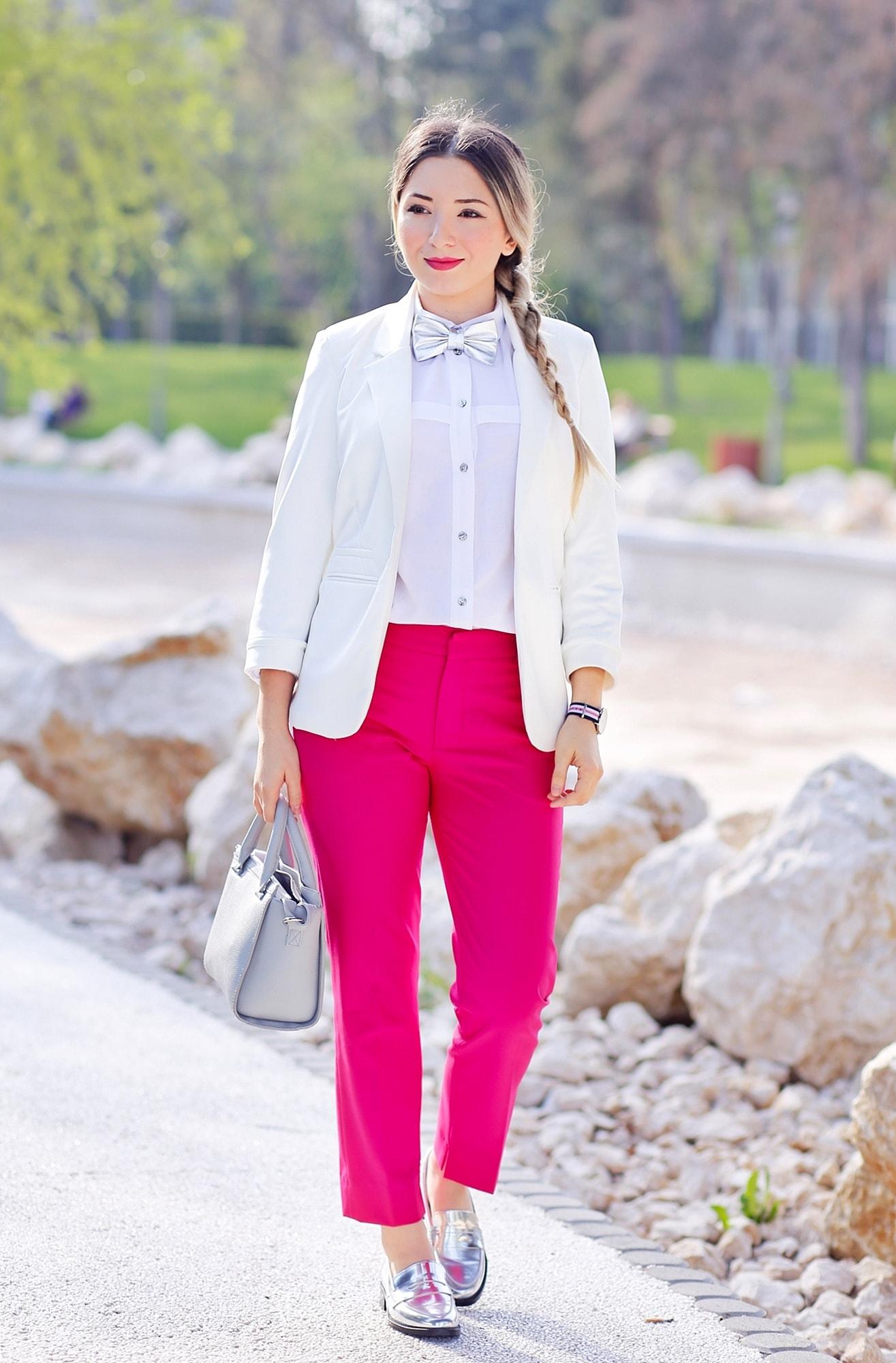 Tinuta chic masculina - cum purtam pantalonii roz Zara office si elementele metalice in tinuta de zi