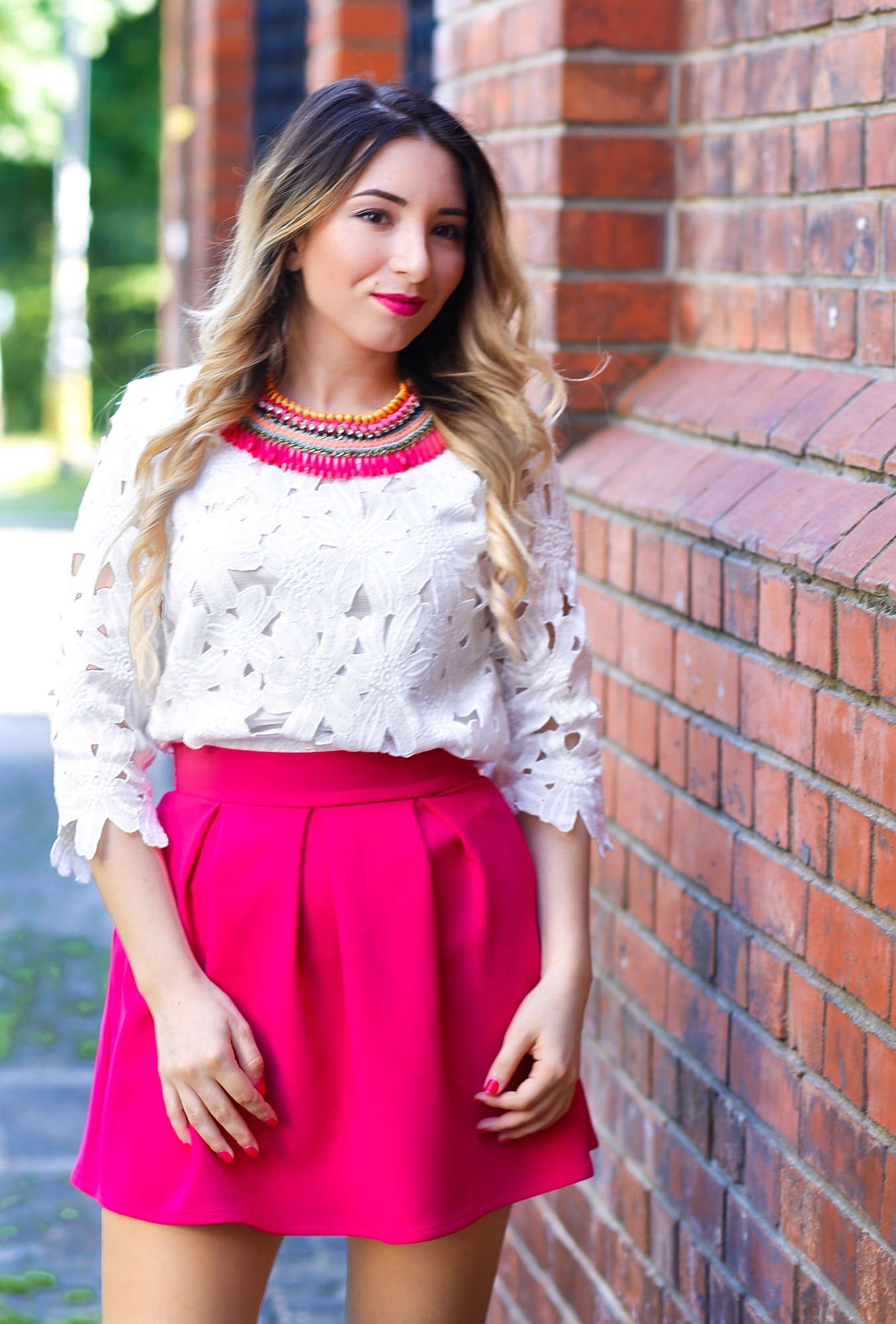 White Half Sleeve Floral Crochet Blouse SheIn