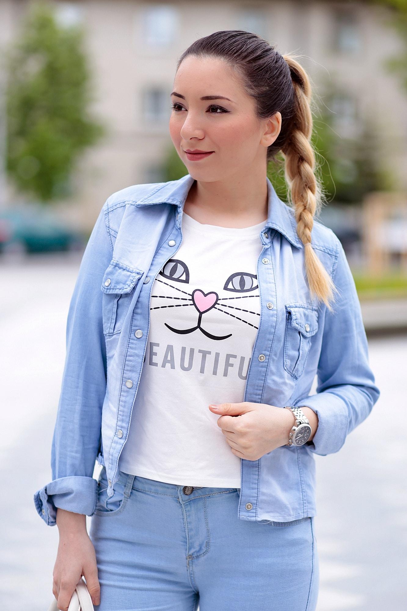 Tricou pisicuta alb cu roz - seautiful, romwe
