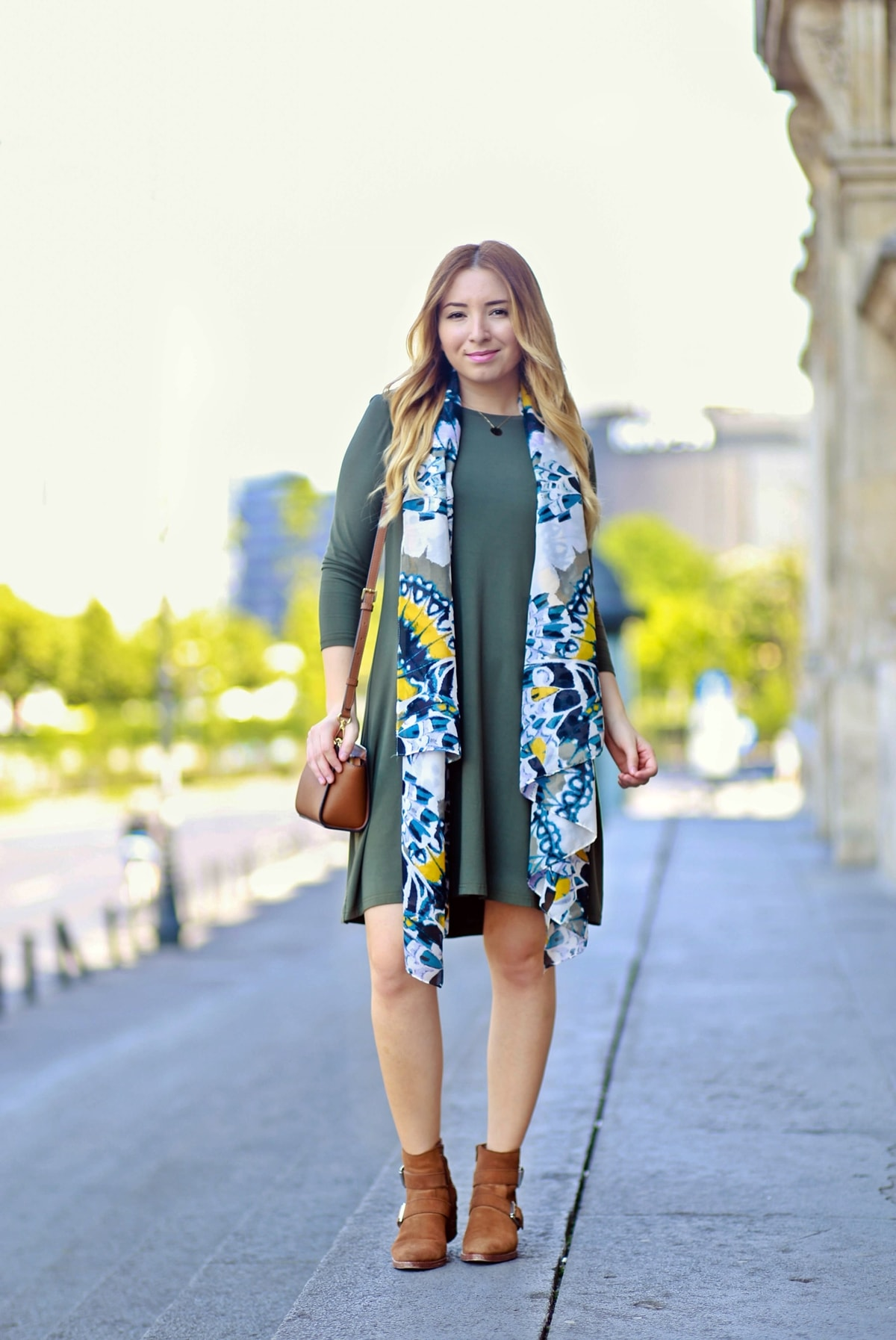 street style: military green dress, hm scarf multi color print, romwe, michael kors mini selma bag, brown boots, andreea ristea blog