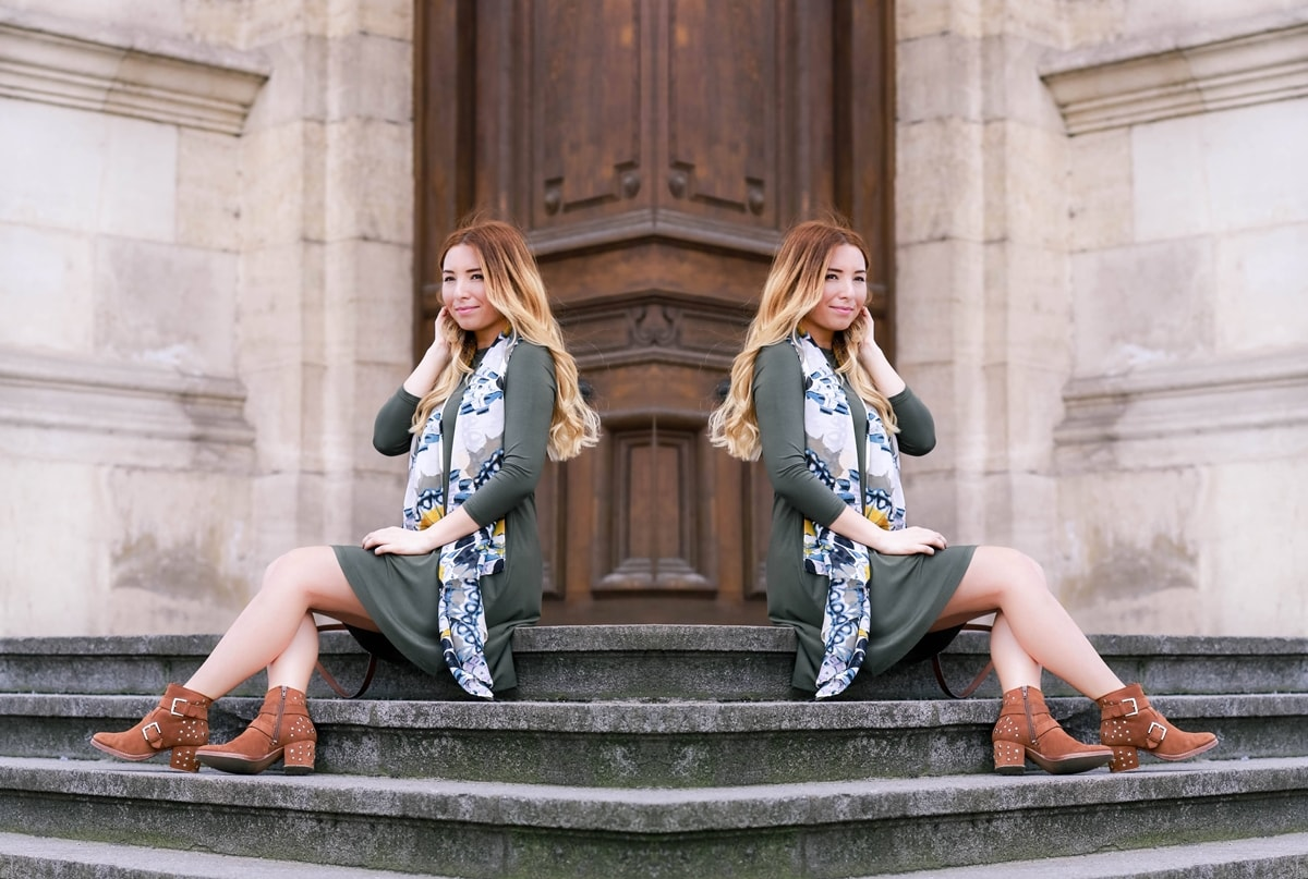 lookbook-military green casual dress