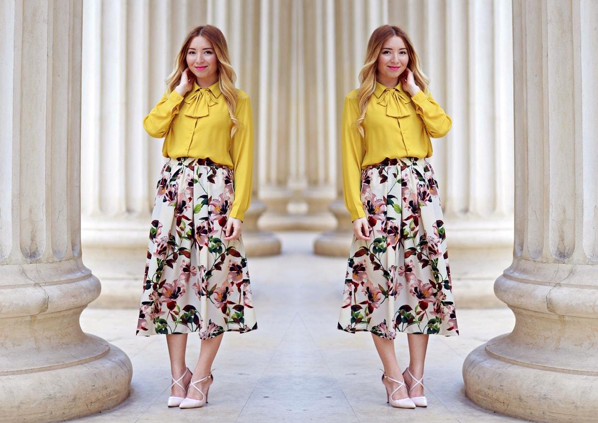 lookbook - floral print midi skirt