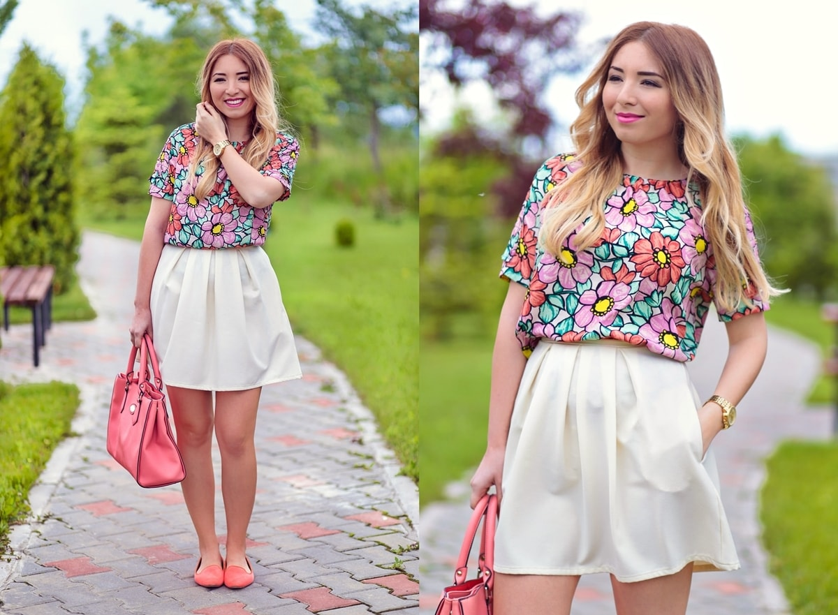 lookbook - floral print blouse, white pleated skirt, orange flats and orange bag