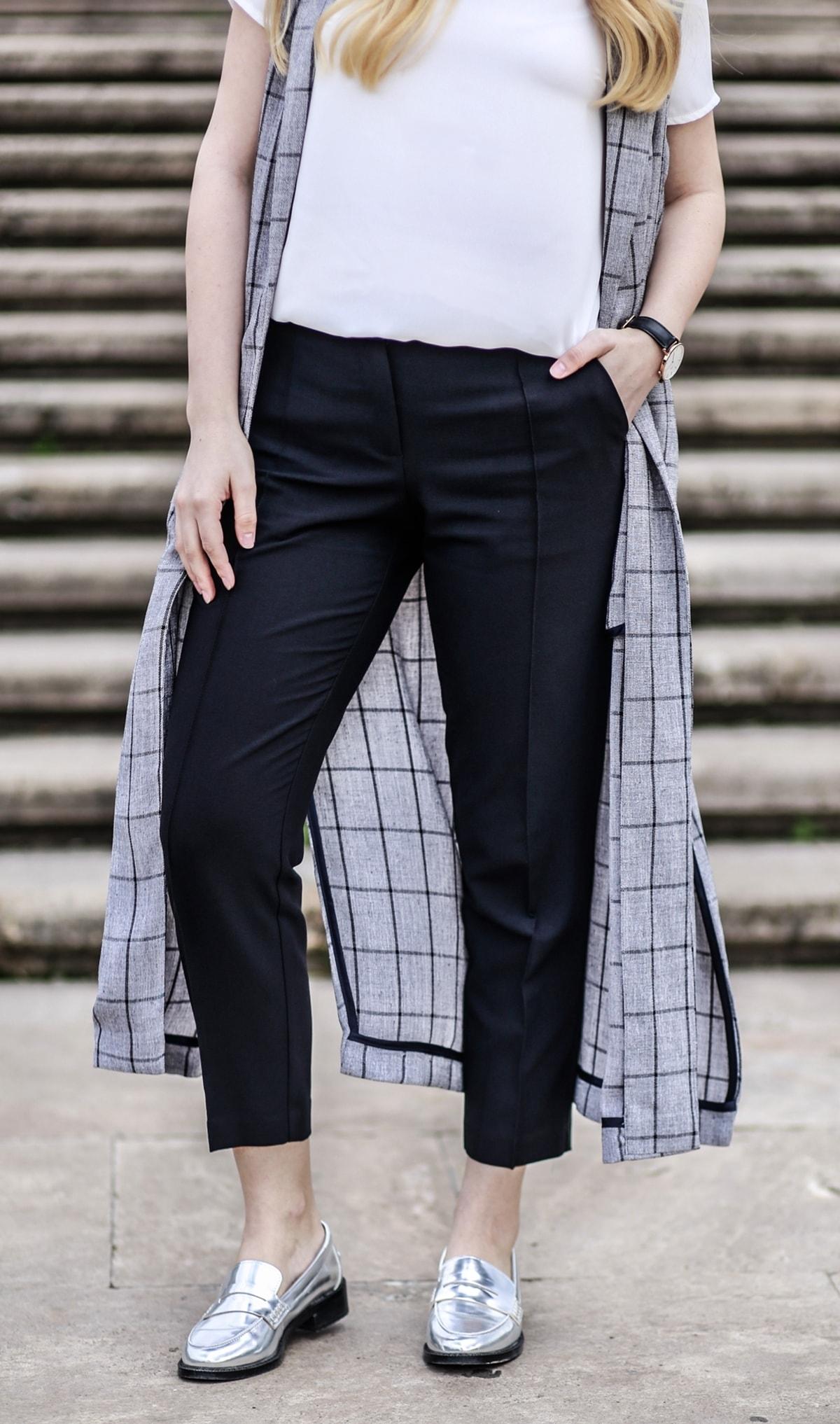 pantaloni office cu dunga, pana, negri - woman fashion