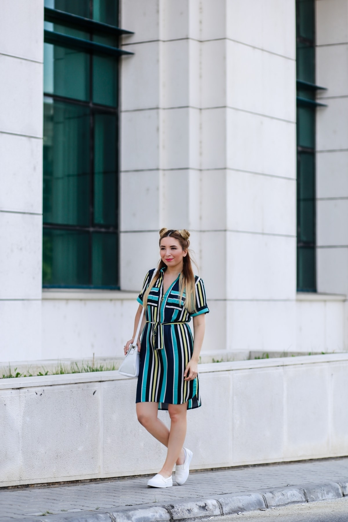 Street style - multi color stripes dress