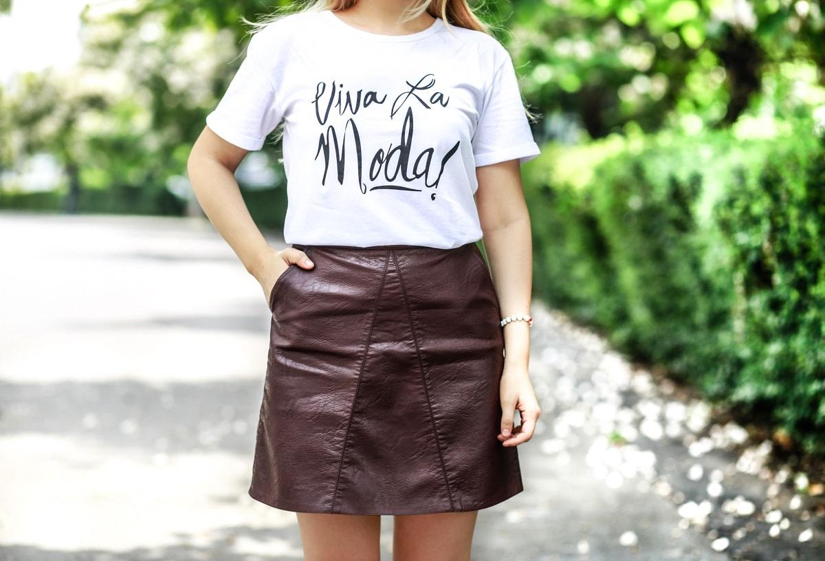 Viva la moda - tricou alb cu mesaj imprimat