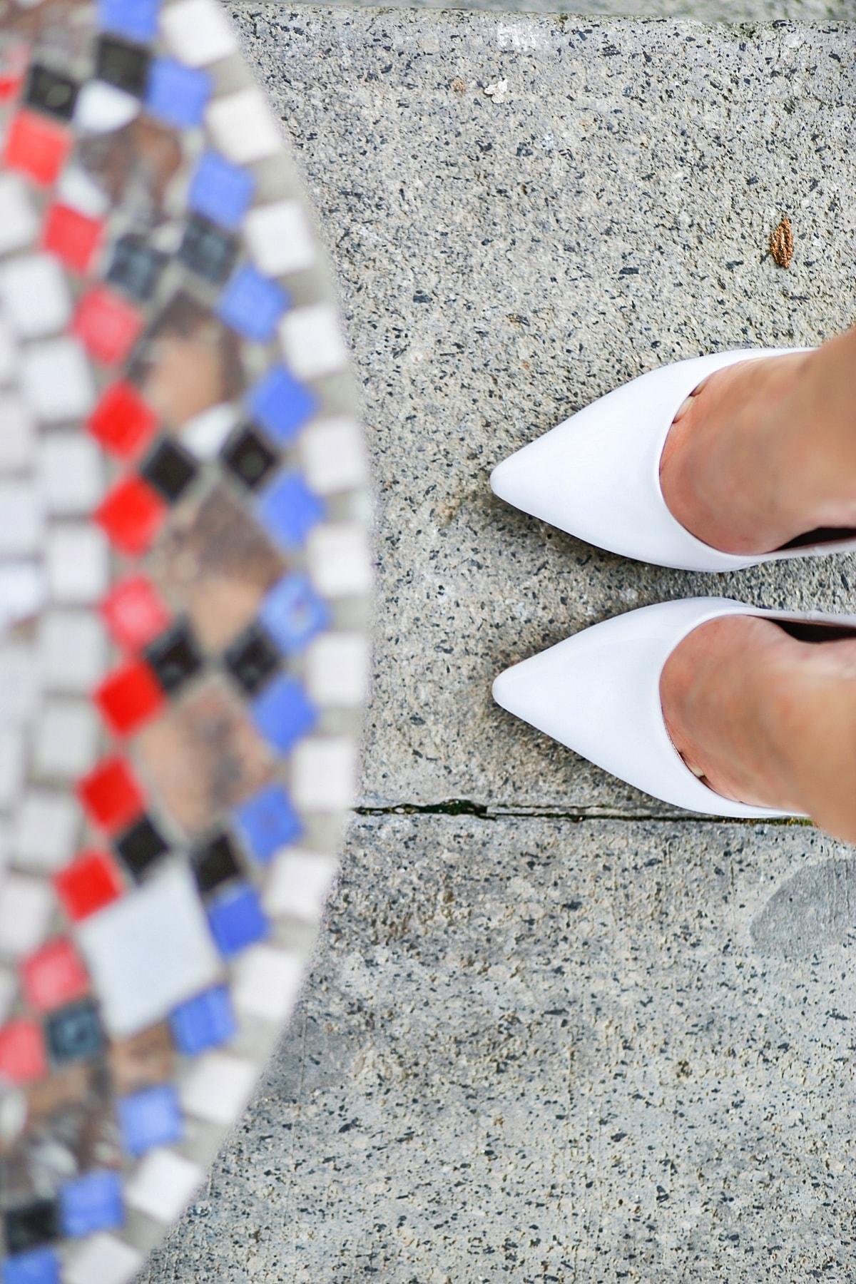 mozaic - pantofi albi