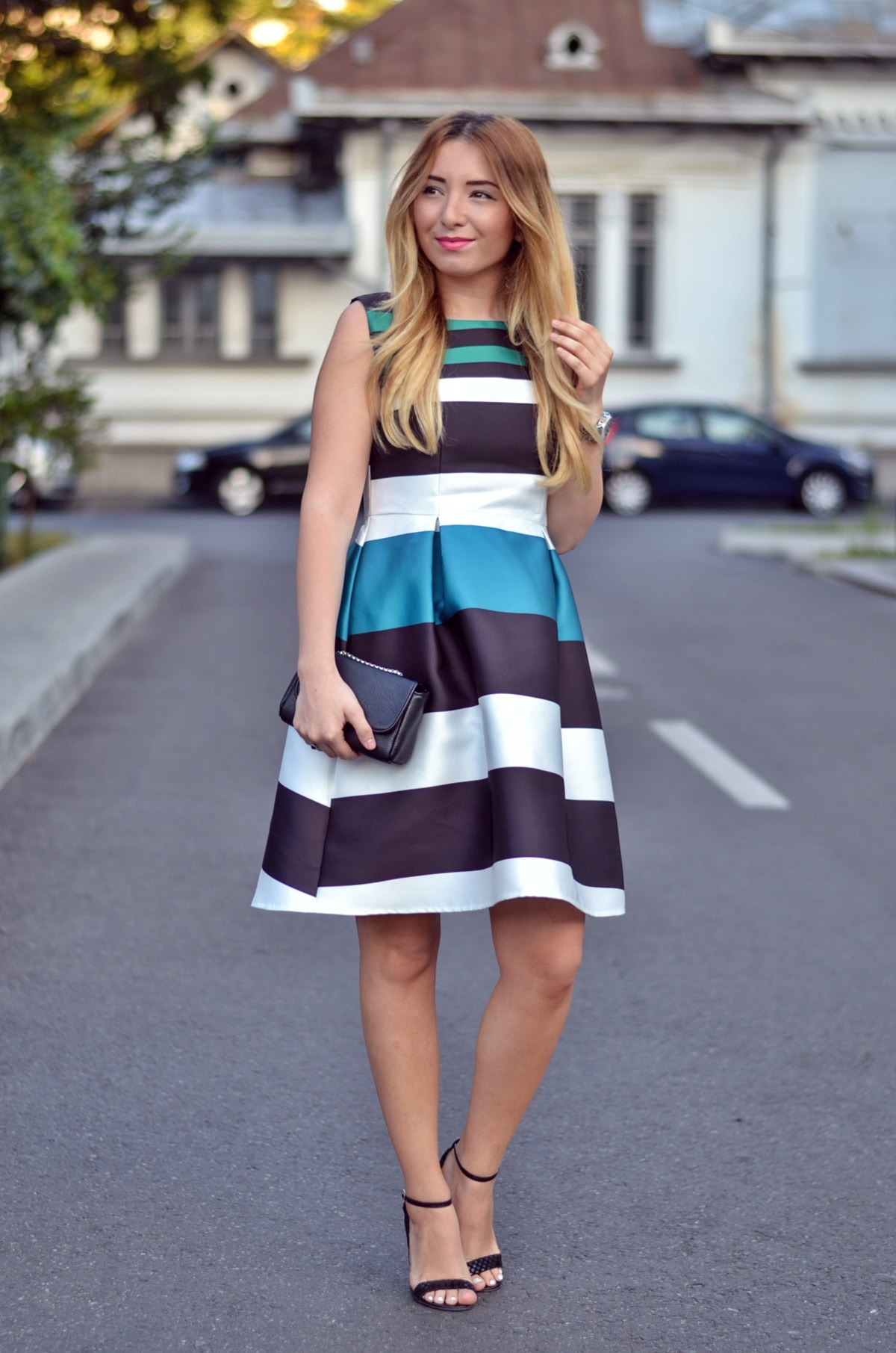 Street style: multicolor striped dress, SheIn, andreea ristea, white, black, green, black sandals, summer look
