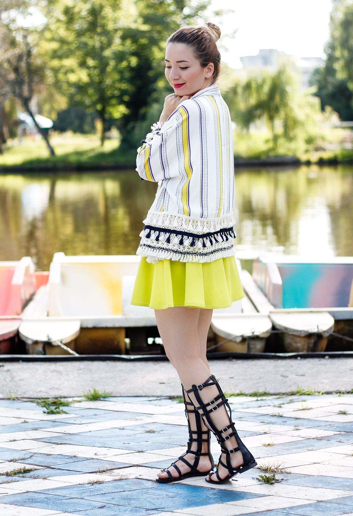Street style: summer look, neon yellow skirt, stripes kimono, pom-poms, gladiator sandals, fashion blogger andreea ristea