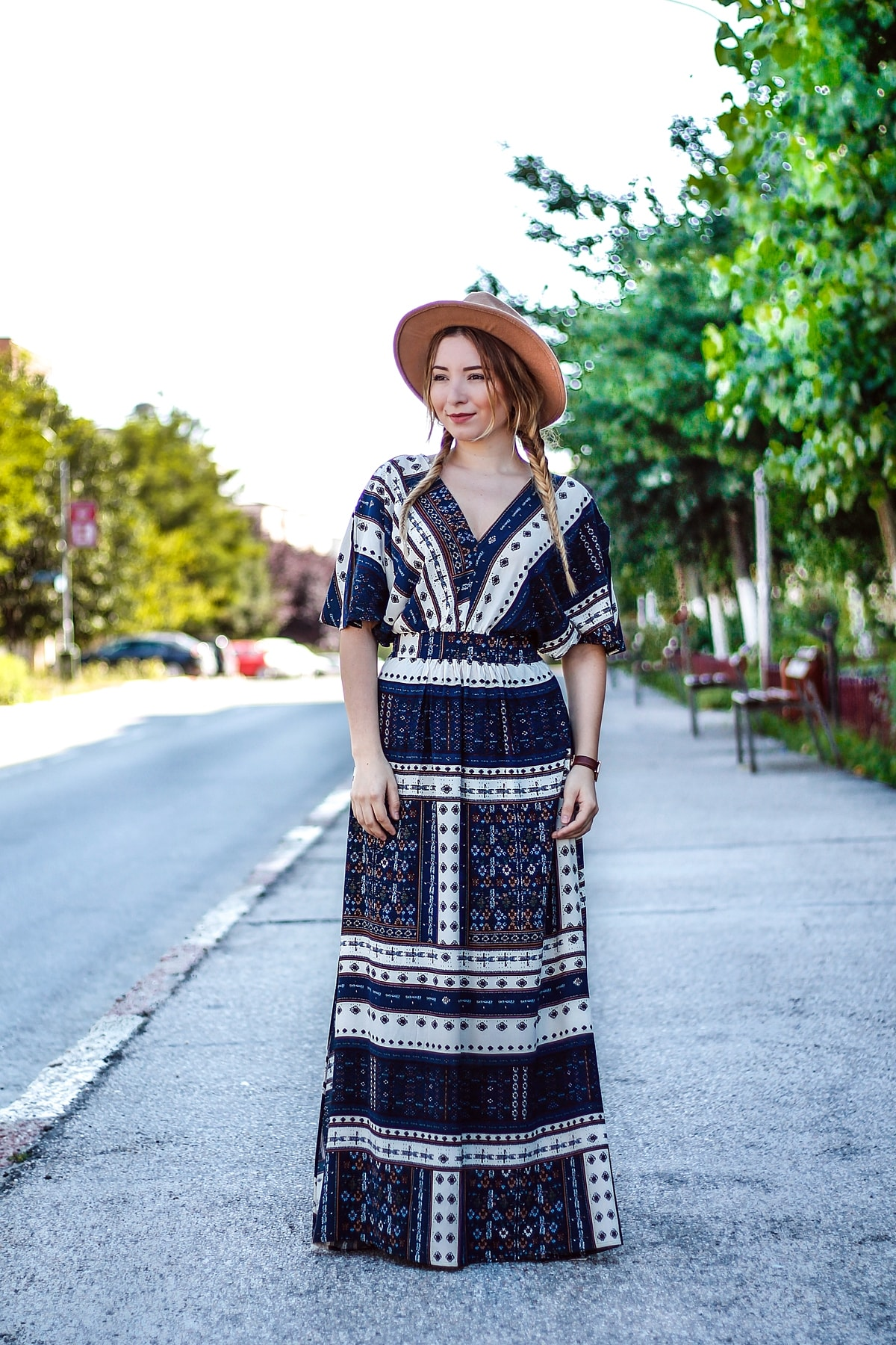 Street style - hippie maxi dress, camel hat, nude sandals, summer look, andreea ristea blog